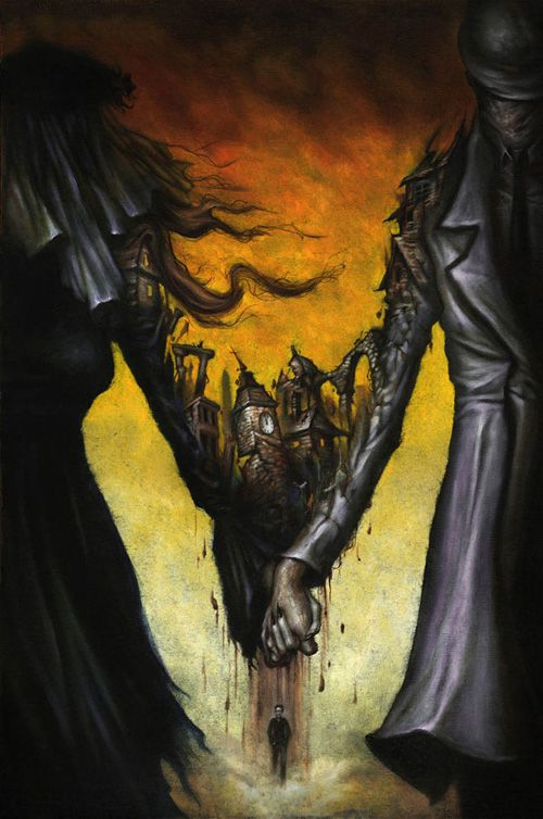 """House Of Mystery #11"" by Vertigo Comics. 12""x 18"" oil on wood. 2008. By ESAO ANDREWS.:"