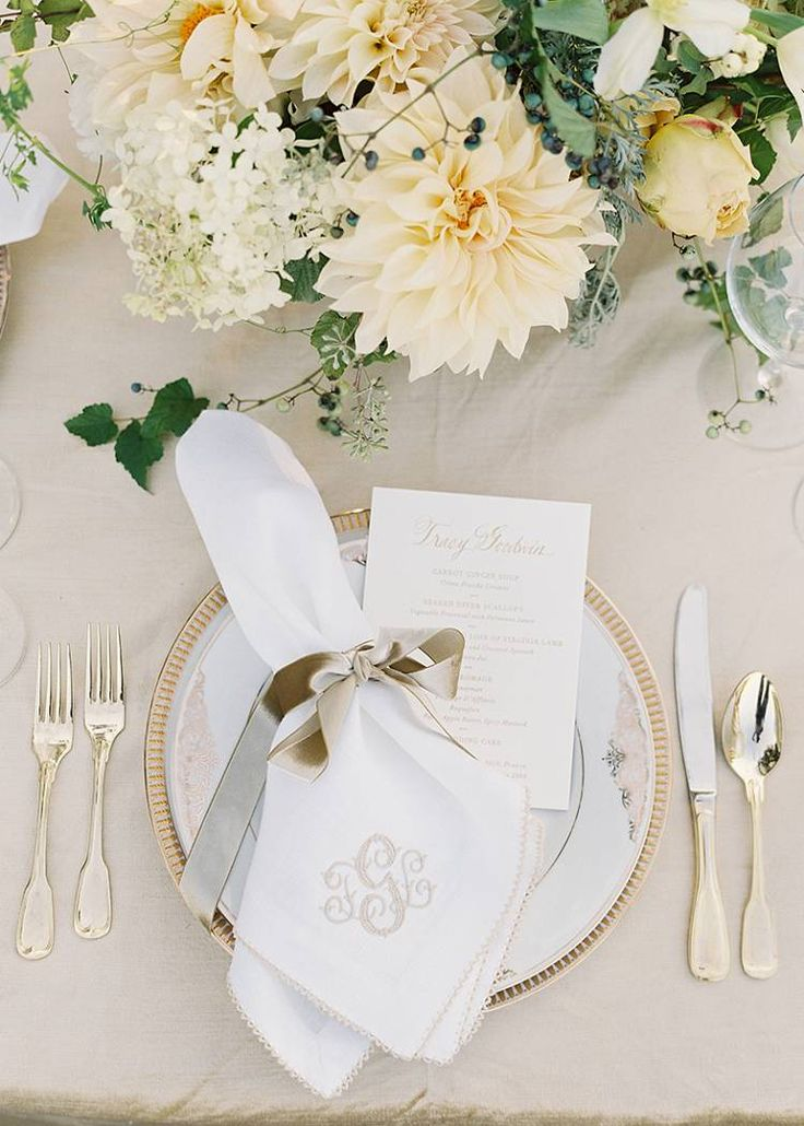 Register for these monogrammed napkins!! Reception Table Detail - designed by Easton Events - Destination Wedding Planners with offices in Charleston, SC and Charlottesville, VA photo by Jose Villa