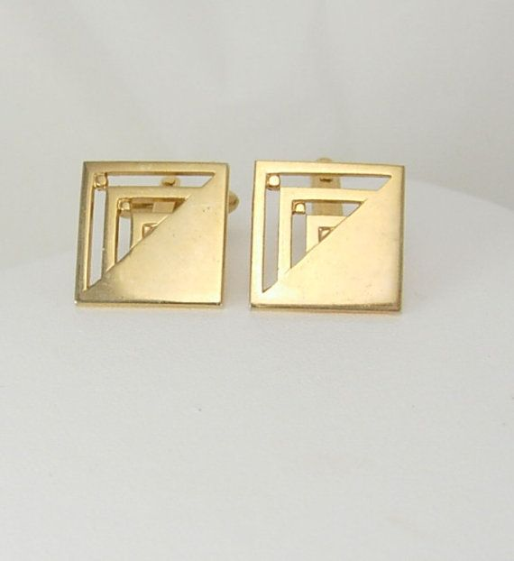 Vintage Modernist Goldtone Cufflinks Square Wedding Birthday Business Signed Swank. These are a great pair of vintage cufflinks in good vintage