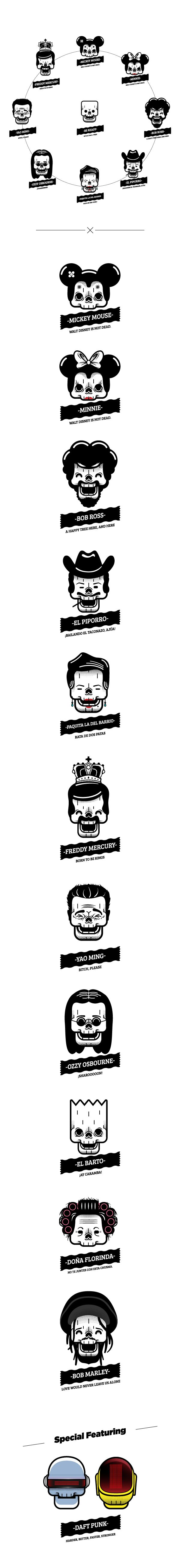 Las Calaveras Famosas Cartooning, Character Design, Illustration Las Calaveras Famosas (Famous Skulls).     Some famous people.      Downloa...