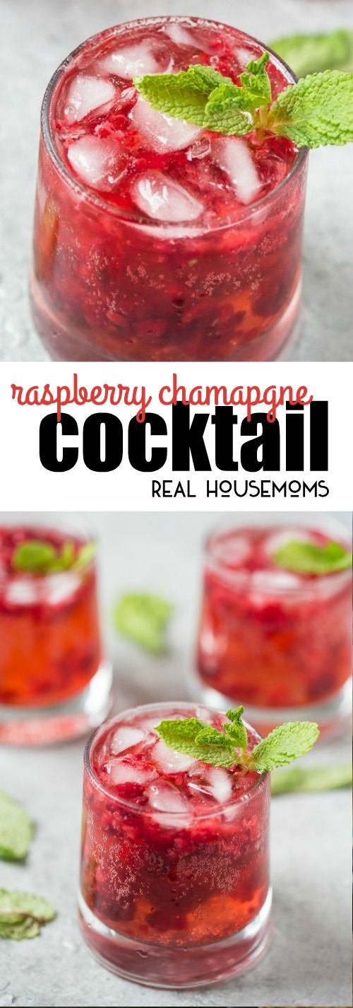 This Raspberry Champagne Cocktail punch is perfect for your holiday celebrations!  via @realhousemoms