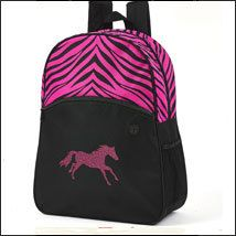 HorseLovers Trading Post - Lila Zebra Print w/Hot Pink Glitter Horse Backpack - Pink and Black, $24.00 (http://www.horseloverstradingpost.com/gifts/backpacks-ipad-cases/lila-zebra-print-w-hot-pink-glitter-horse-backpack-pink-and-black/)