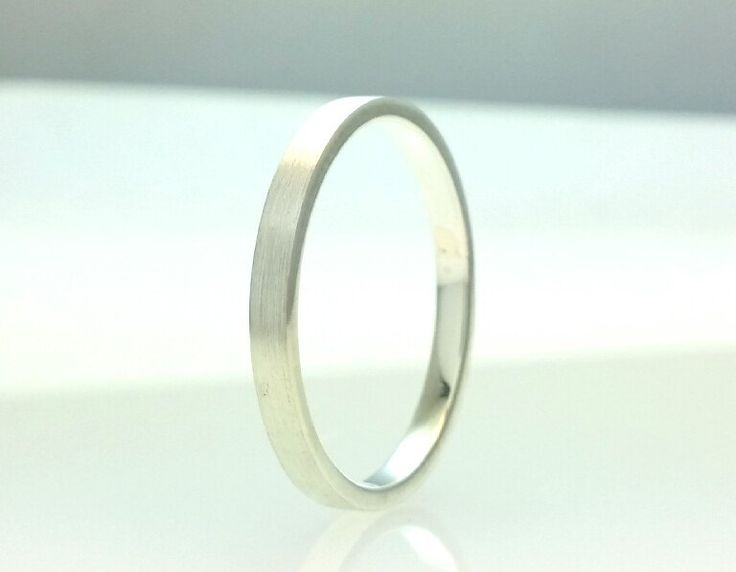Sterling Silver Flat Wedding Band Brushed Finish 2mm Stacking Ring Stackable Rings 2mm All Us Sizes by Vaptism on Etsy