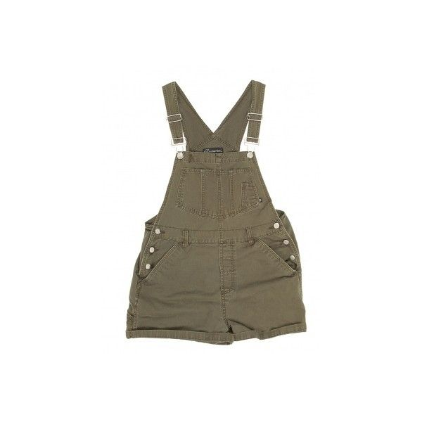 Khaki Denim Short Dungarees W32 ❤ liked on Polyvore featuring shorts, dresses, overalls and playsuits