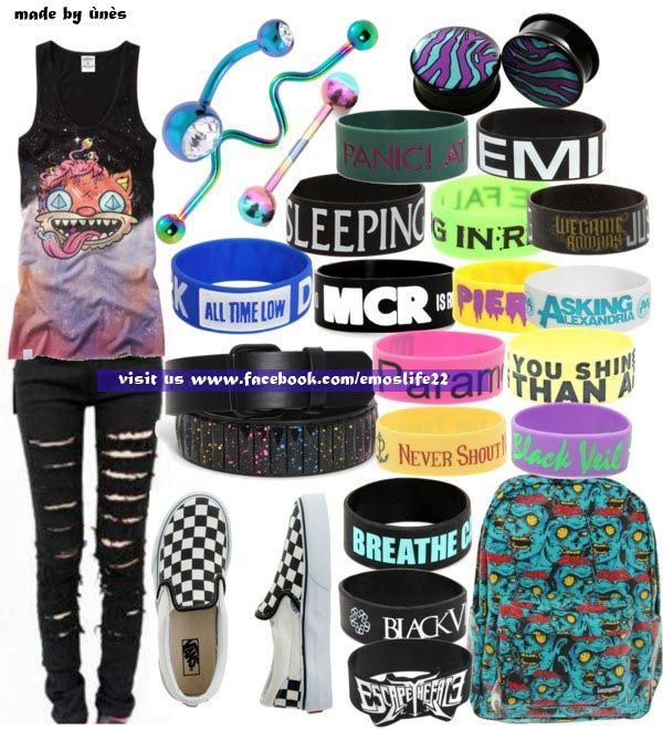 emo clothes ♡ this is by FAR the clothes I love!! Look at that top! It's gorgeous!!!! ♡ And such amazing bands on the wristbands too!!!!