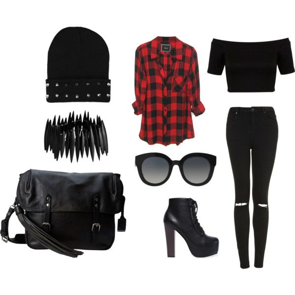 A fashion look from February 2015 featuring plaid shirt, petite tops and black skinny jeans. Browse and shop related looks.