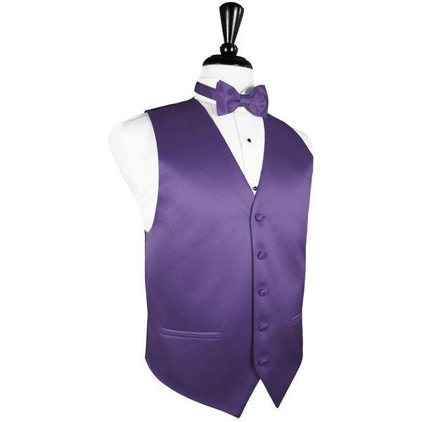 Freesia Luxury Satin Tuxedo Vest ($95) ❤ liked on Polyvore featuring outerwear, vests, purple tuxedo, purple vest, purple waistcoat, vest tuxedo and satin vest