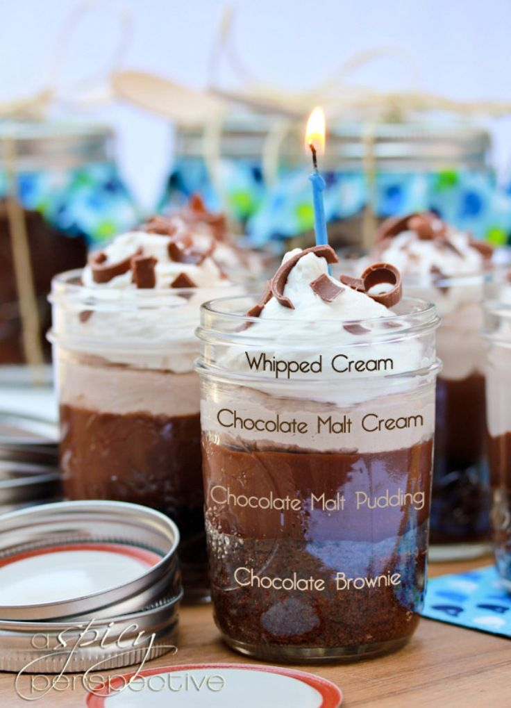 Chocolate Malt Brownie Parfait in a Jar Chocolate brownie in a jar – perfect! No no, layers and layers of perfection! And they are extremely easy to make. Check the recipe at the link after this mouthwatering image…