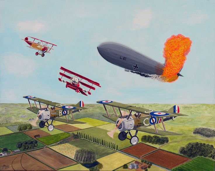 """During WW I in the skies over Northern France, two British Sopwith Camel fighters are returning home after shooting down a German Zepplin airship when two German Foker fighters appear looking for a duel. Medium - acrylic on 24"""" x 30"""" canvas. Giclee prints available at howiesartandsculpture.com  (925)-482-5958"""