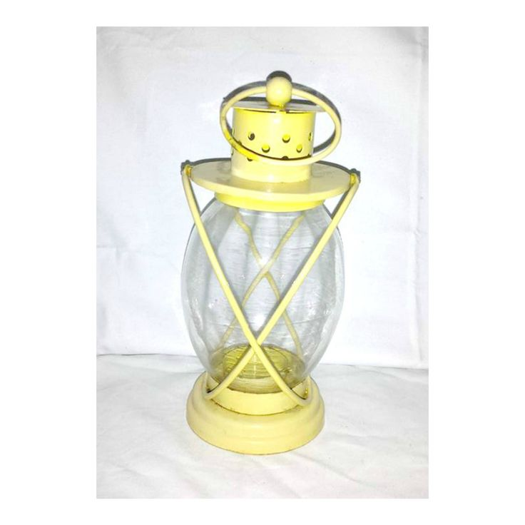 Vintage Lantern,Lantern Candle Holder,Yellow Candle Holder,Yellow Lantern,Handled Candle Holder,Shabby,BOHO,Metal & Glass Candle Holder by JunkYardBlonde on Etsy