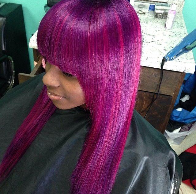 Full Weave Bangs Purple Hair Weaves Amp Wigs Pinterest