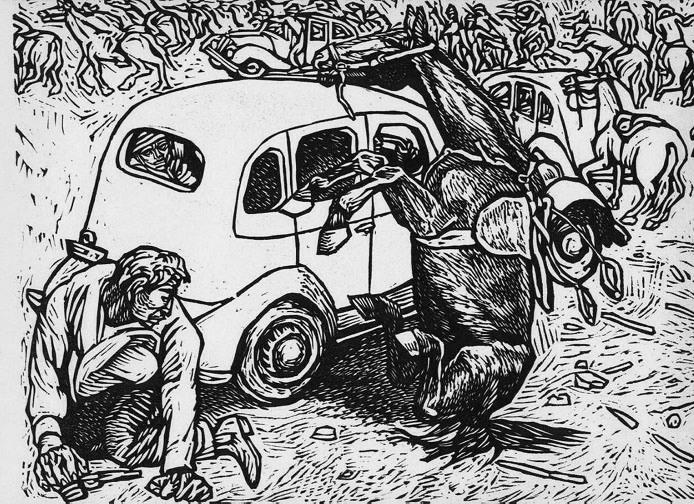 Alfredo Zalce. CHOFERES VS. CAMISAS DORADAS EN EL ZOCALO DE LA CIUDAD DE MEXICO. 20 DE NOVIEMBRE 1935. Los CAMISAS DORADAS estaban al servicio del fascismo. Desde el momento de su nacimiento, han estado siempre en contra del progreso de México. En 1935 hicieron una absurda demostración de fuerza en la Plaza de la Constitución. Los choferes pertenecientes al Frente Único del Volante la disolvieron atacando a los jinetes con sus coches. El Gobierno del Gral. Cárdenas los declaró fuera de la…
