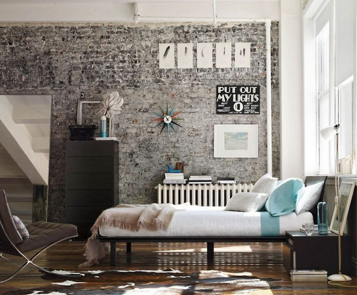 Bedroom Grey Brick Design Ideas, Pictures, Remodel And Decor