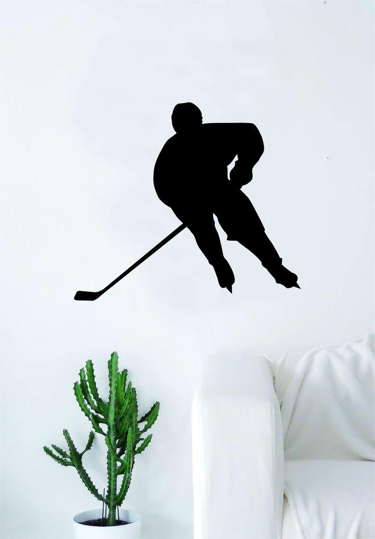 Hockey Player Silhouette v2 Wall Decal Sticker Bedroom Living Room Decor Art Vinyl Sports Teen Kids Ice Skate Puck