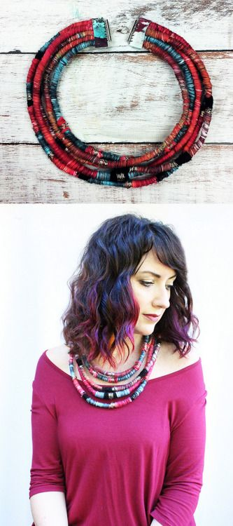 DIY Yarn Wrapped Necklace Tutorial from Alisa Burke.Use up your...