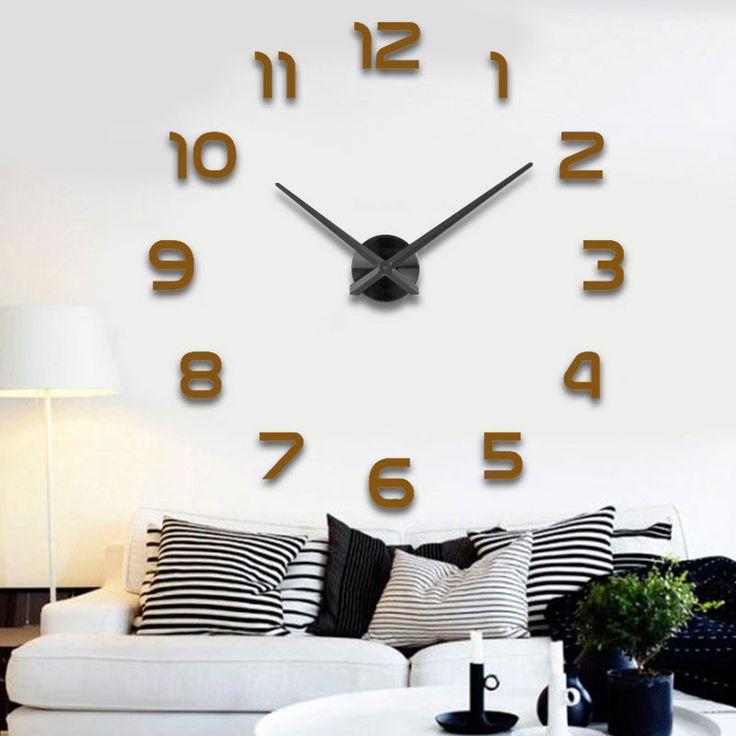 Fashion 3D Big Size Wall Clock Mirror Sticker DIY Living Room Decor Meeting Room  Wall Clock