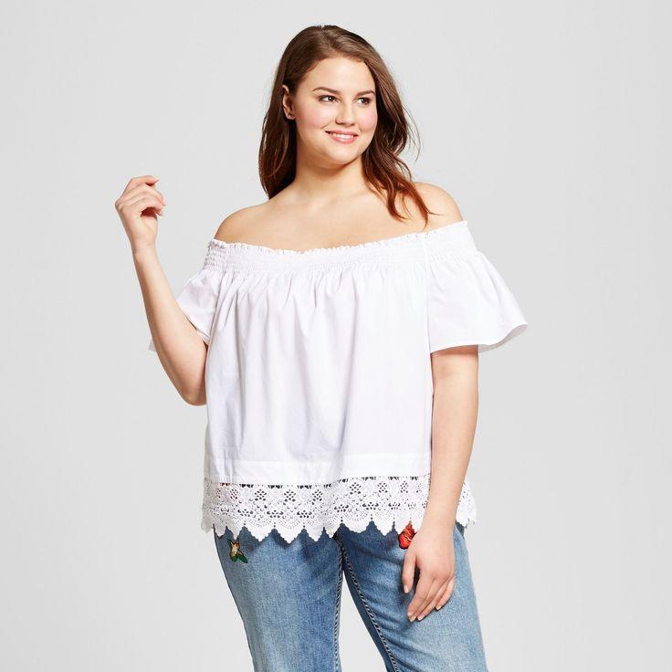 Who What Wear, Women's Plus Size Lace Hem Bardot Top  White 2X