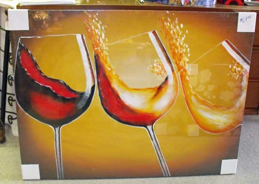 Large wine glass gallery wrapped canvas.