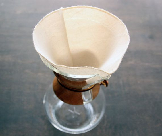 Reusable Organic Coffee Filters Chemex 6 Cup Style-Set of 2, Organic Unbleached Cotton fabric, Organic unbleached cotton thread    There's nothing