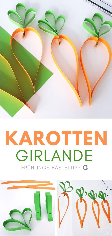 Papier Karotten-Girlande: Schnelle Frühlings Fensterdeko