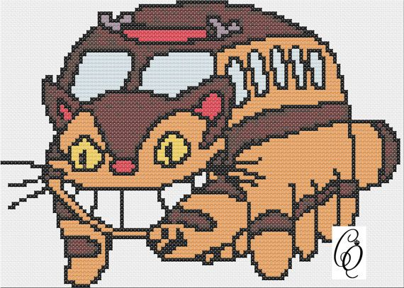 Catbus from My Neighbor Totoro Cross Stitch PDF Pattern on Etsy, $3.00
