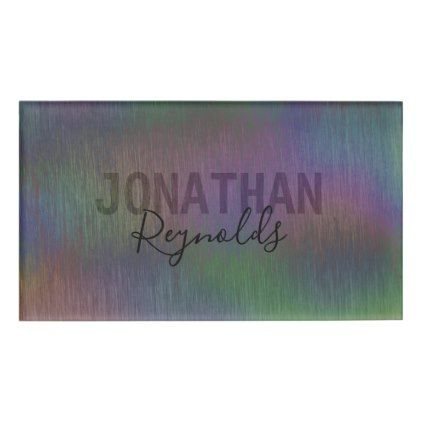 Modern Holographic Metal Name Monogram - Name Tag - brushed metal gifts cool unique special gift idea