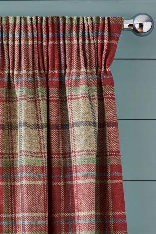 Morcott Woven Check Pencil Pleat Curtains