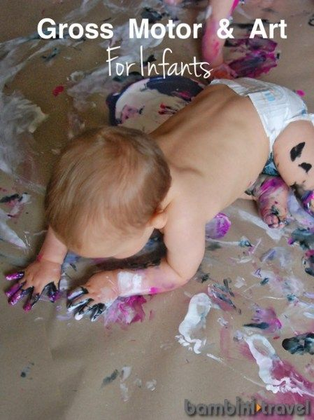 Gross Motor and Art for Infants || Combining fun art activities to promote gross motor skills such as crawling, standing and walking with babies