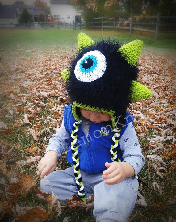 Monster Hat crochet monster hat boy winter hat by PinkLemonKnits