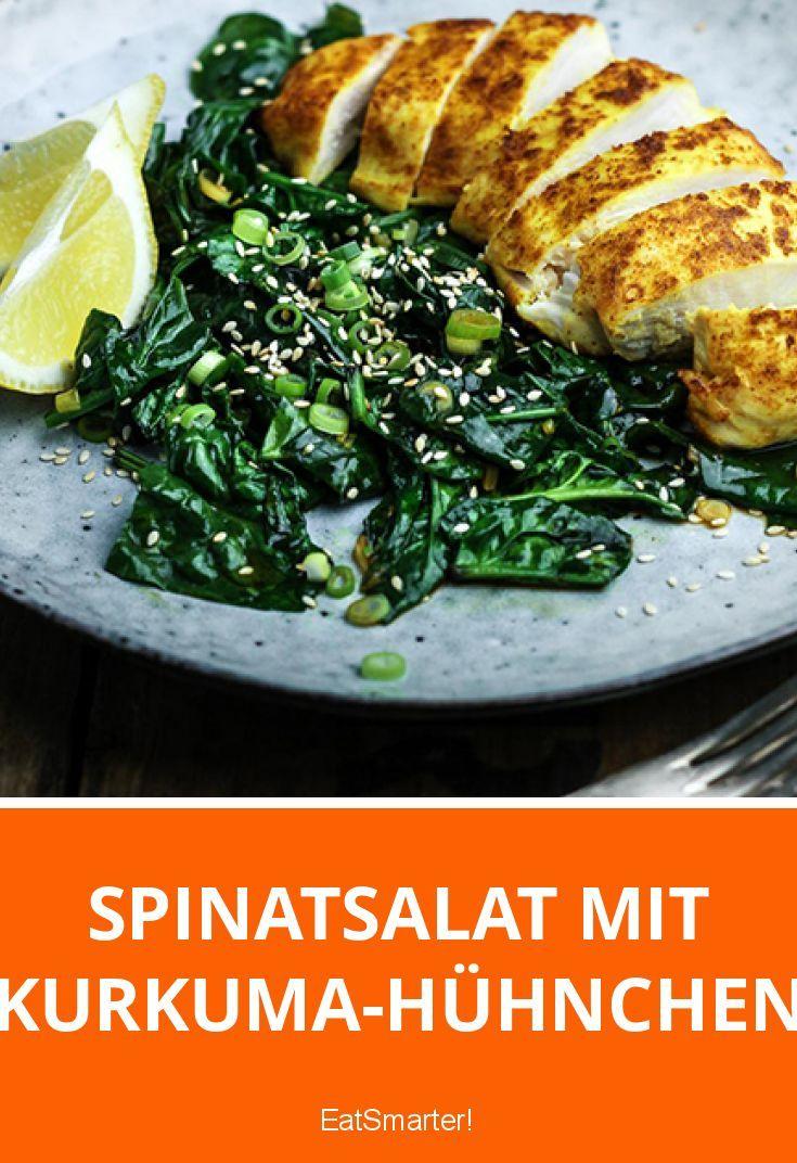 Spinatsalat mit Kurkuma-Hühnchen   eatsmarter.de