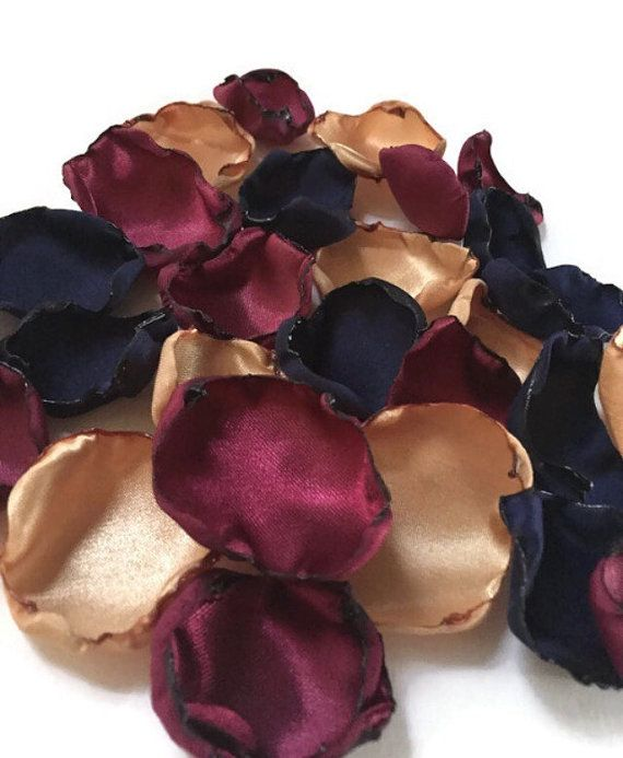 Navy Blue Marsala maroon and gold flower by ShabVintiqueFlowers