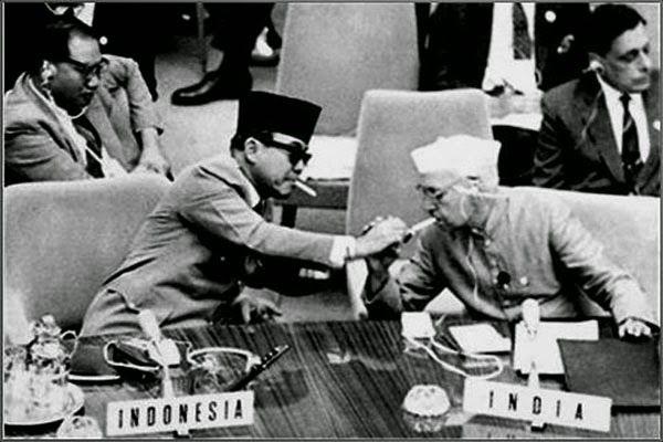 Sukarno & Jawaharlal Nehru.
