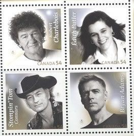 Canadian musical artists on postage stamps