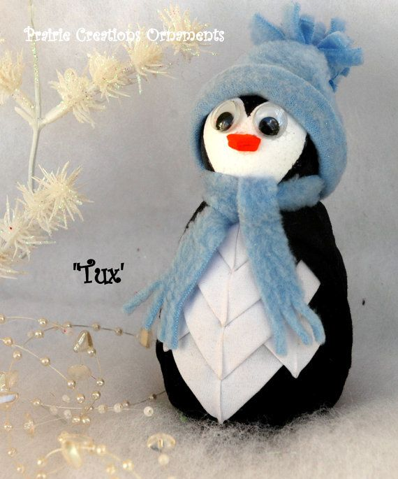 This adorable Penguin ornament measure 5 tall when finished.  A fun, fun project for your Christmas and winter pleasure.  All materials (except straight pins) are included to complete this sweet ornament.  As with my other ornaments, order 3 kits (kit only option) and receive the pattern free.  I have others colors available for the hat and scarf, so contact me if youd like a different color.