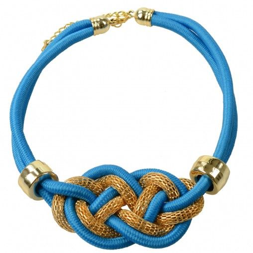 SACHA // Blue knot necklace €12,95 #sachashoes #gold #tie #statement