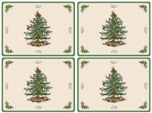 Spode Christmas Tree Hardback Placemats, Set of 4 Four 20-inch L x 20-inch W hardbacked Placemats.Art print on hardbacked cork board with heat resistant Laquer coatingChristmas Tree on light cream body with green band.Wipe with a Damp Cloth Heat resistant.Mix and Match with Spode Christmas Tree Grove pattern. http://bit.ly/1T6KDQq