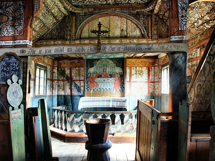 Inside Uvdal stavchurch, Numedal, Buskerud, Norway. Not my photo. Pint from Wikipedia.