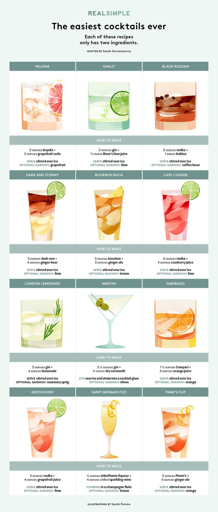 12 Easy Two-Ingredient Cocktails | Guaranteed to take the edge off in just 2 shakes... or stirs, as the case may be.