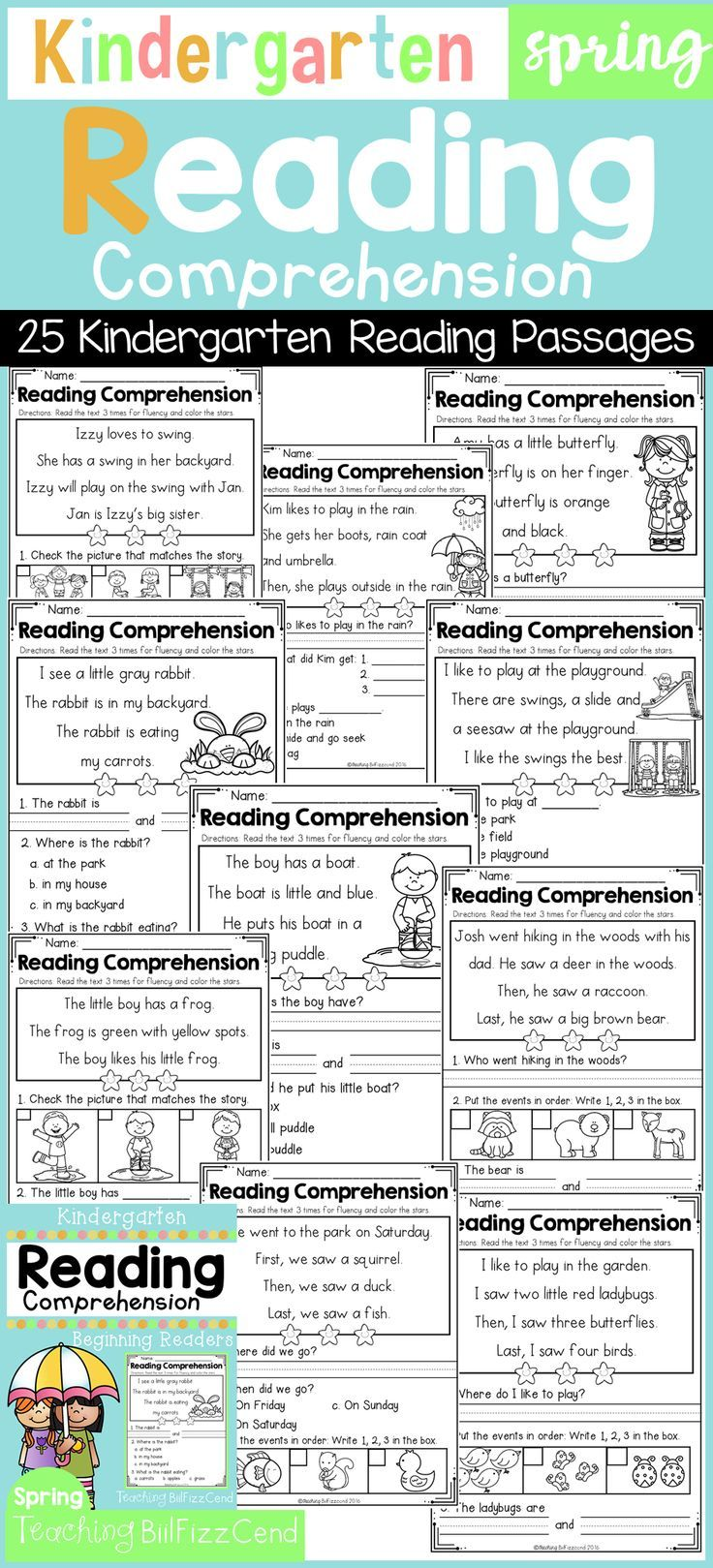 25 Spring Reading Comprehension Fluency Passages for Beginning Readers!!