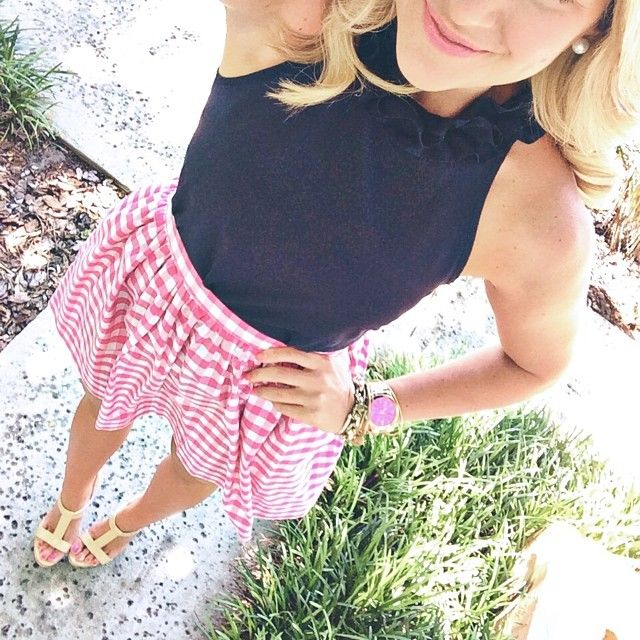 Navy   Gingham today! In love with this custom made skirt by @januaryhartrizzo today! It's totally a new staple, and now I need more colors girlfriend! #ootd #outfit #liketkit www.liketk.it/JBO @LIKEtkit (tap photo for details) #preppy
