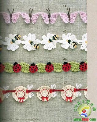 Free patterns - Adorable crochet borders Butterfly, ladybug, flower bumblebee and hat edging, trim, bordeleta