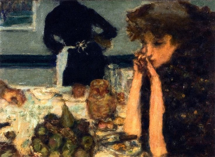 Pierre Bonnard (French, 1867-1947)  Misia Natanson at Breakfast  c. 1899. Oil on wood.: