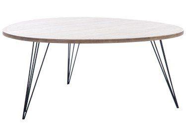 Duverger Retro salontafel met afgerond driehoekig blad in hout en smeedijzeren onderstel