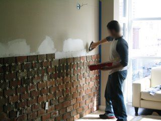 Using thin bricks (1/2 inch) to brick a wall. In kitchen.