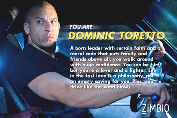 Which 'Fast & Furious' Character Are You? I got Dominic Toretto , how about you?