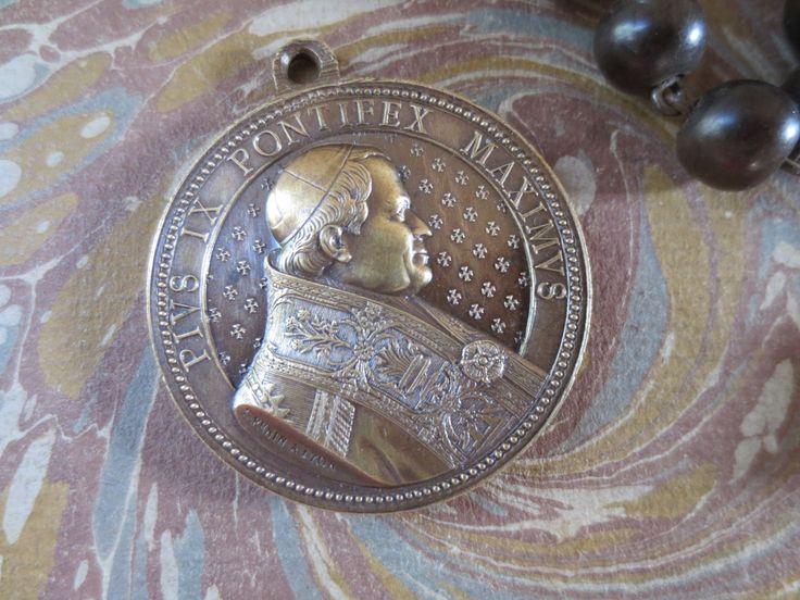 Souvenir Medallion Pope Pius IX Pontifus Maximus - Bronze with Silver, Cinquantieme Anniversaire d' l' Episopat 1877 by artandsalvage on Etsy