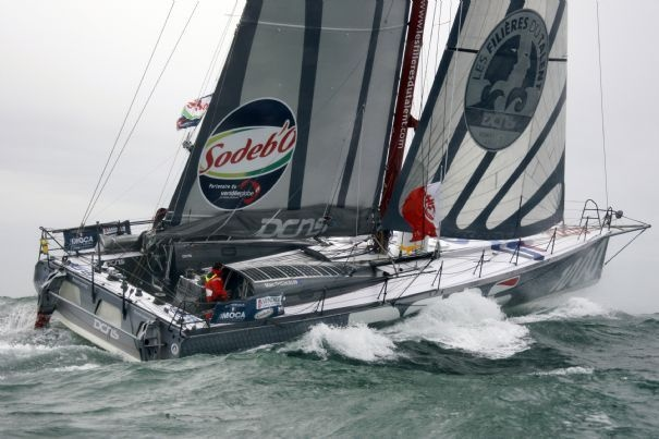 French skipper Marc Thiercelin on Sodebo during 2008 round the world race (Vendée Globe)