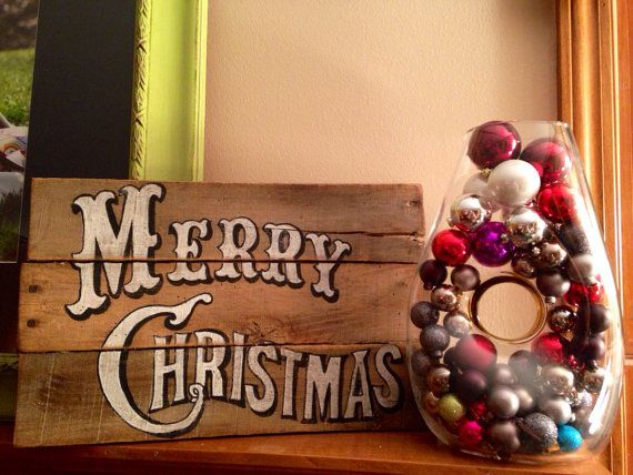 Vintage Merry Christmas Sign/ Christmas by PalletsandPaint on Etsy