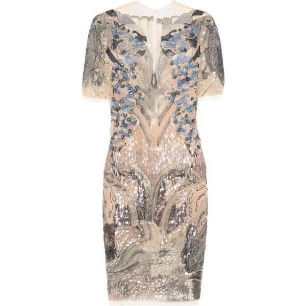 julien macdonald fuji embellished tulle dress 35095 mxn liked on polyvore featuring dresses