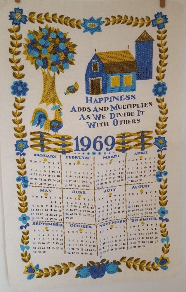 Vintage 1969 Calendar Tea Towel Blue Green Folk Art Happiness Mid